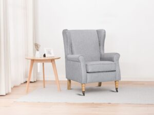 Vintage HIgh winged back fgrey abric armchair