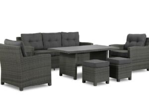 Dining Sofa Patio Set Rattan Grey – Luna