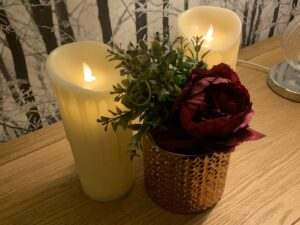 Cream Flickering Flame LED Wax Candle With Timer Realistic 23CM Each