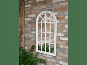 Arch Garden Mirror White Distressed 86cm