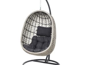 Stone Grey Cocoon Hanging Garden Chair Hammock Swing With Cushion