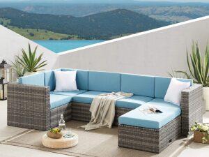 4 Piece Patio Furniture Rattan Corner Sofa Set Outdoor Sectional Sofa