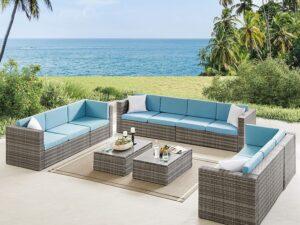 10 Seater Patio Furniture Rattan Sofa Set Outdoor Sectional Sofa Blue