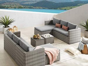 Rattan Corner Sofa Set Outdoor Sectional Sofa With Chaise 6 Seater