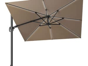 Glow Challenger T2 3m Square Taupe Parasol With Lights