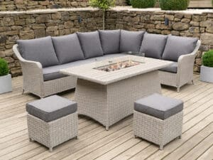 Stone Grey Antigua Corner Set Polywood Fire Pit Table Relaxed Corner Dining Set