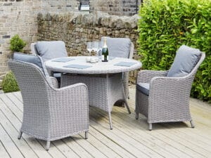 Stone Grey Antigua 4 Seater Rd Dining Set