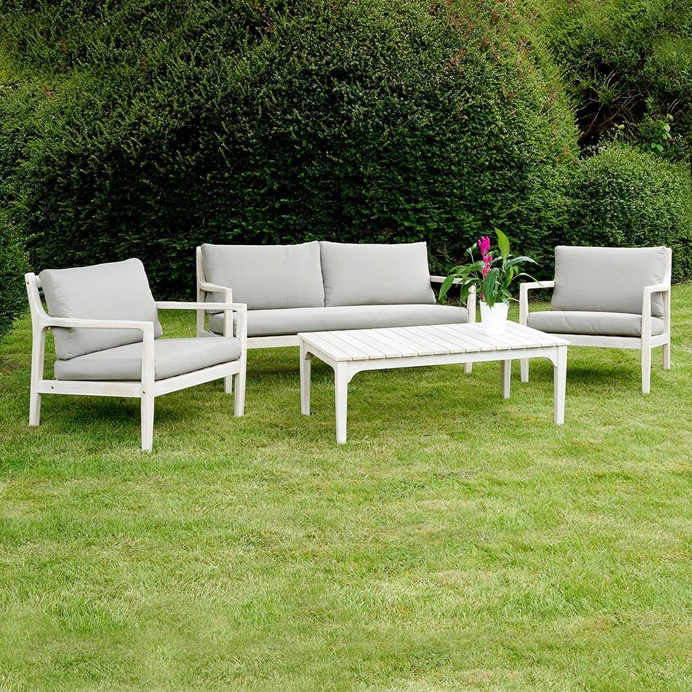 White Wash Malta Wooden Lounge Patio Seating Set